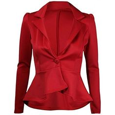 Ladies Plus Size One Button Frill Peplum Blazer Jacket US Size 1422 US 18UK 20 Red -- Click image for more details.