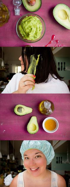 [ Quick And Easy Hairstyles For School : The Best Step By Step Tutorials For Homemade Hair Treatment For Damaged Hair - Whipped Avocado, Honey and Olive Olive Oil Hair Mask, Coconut Oil Hair Mask, Hair Oil, Keratin, Homemade Hair Treatments, Natural Treatments, Hair Treatment At Home, Avocado Hair, Easy Hairstyles For School