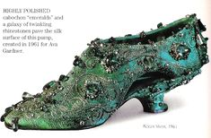 """1961.  The perfect shoe for a mermaid- or ocean-themed belly dance costume!  From """"SHOES--A Celebration of Pumps, Sandals, Slippers & More"""" by Linda O'Keeffe, ©1996"""