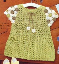 Green Baby Dress with Flower Sleeves free crochet graph pattern