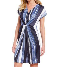 4877d1bfabe Kenneth Cole New York Short Sleeve V-Neck Origami Pleated Dress  York