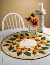 spinning sunflowers table topper