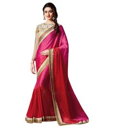 Naksh - Beauty in Pink and Tomato Red Shaded Designer Saree