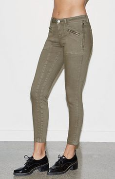 Moss Green Mid Rise Skinny Utility Jeans