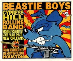 Beastie Boys, Cypress Hill and The Rollins Band at The State Palace Theatre, NOLA.  Artist: Frank Kozik Frank Kozik, Band Posters, Rock Posters, Modern Posters, Event Posters, Adam Yauch, Vintage Music Posters, Lowbrow Art, Cool Bands