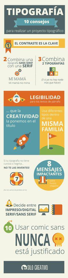 Infografía: Los 10 consejos para combinar tipografías • vía: http://www.silocreativo.com