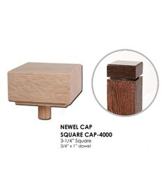 The 4000 is a square newel cap that measures 3-1/4″ x 3-1/4″ with a 3/4″ x 1″ dowel. This newel cap is used to finish the top of a plain square newel post. SQUARE CAP-4000 Length: 3-1/4″ Width: 3-1/4″ Dowel: 3/4″ x 1″ Only available in Red Oak