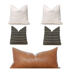 Our Greenpoint pillow combo comes in options:SOFA OPTION Cream African Mudcloth Pillow Gray Peppercorn Pillow Bourbon Faux Leather Pillow CoverSOFA OPTION Cream African Mudcloth Pillow Gray Peppercorn Pillow Bourbon Faux Leather Pil Grey Throw Pillows, Modern Pillows, Modern Couch, Brown Pillows, Couch Pillows, Accent Pillows, Classic Cushions, Neutral Pillows, Dark Brown Couch