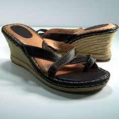 Born Sandals 9M Wedge Heels Boho Chic Beachy Strappy Toe Sandals Brown Leather #Born #PlatformsWedges