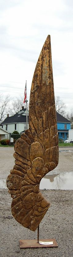 Vintage Style Hand Carved Wooden Wing Sculpture   eBay