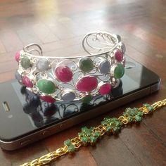 """Handmade"" 925 Silver Bangle Bracelet 100% Natural Gemstone Jade Ruby Sapphire  #Handmade #Bangle"