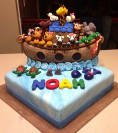 I hope you enjoy these amazing NOAH'S ARK ideas. Baby Shower Cakes, Boy Baby Shower Themes, Baby Shower Parties, Baby Boy Shower, Noahs Ark Cake, Noahs Ark Party, Noahs Ark Theme, Baby Birthday, 1st Birthday Parties