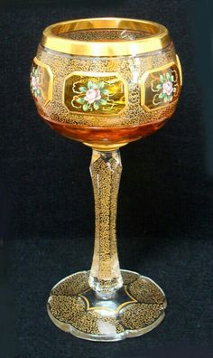 'Bohemian Goblet Amber Painted Roses, 1800s'