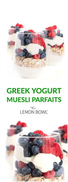 This high-protein Greek yogurt parfaits are filled with hearty muesli and fresh berries. The ultimate make-ahead healthy breakfast recipe! Healthy Breakfast Options, Good Healthy Recipes, Easy Recipes, Delicious Recipes, Breakfast Ideas, Healthy Treats, Brunch Recipes, Healthy Drinks, Healthy Foods