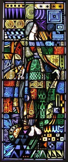 Dick Millard>Work>Stained Glass>Odalisque #1 Stained Glass Church, Modern Stained Glass, Stained Glass Paint, Stained Glass Panels, Leaded Glass, Mosaic Art, Mosaic Glass, Fused Glass, Glass Art