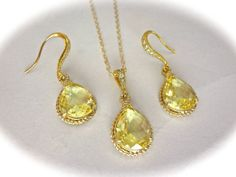 Yellow Topaz set  Earrings and a necklace  by QueenMeJewelryLLC, $59.99