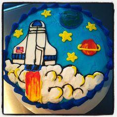 Space, space shuttle cake Happy Birthday Boy, 4th Birthday, Birthday Ideas, Birthday Cakes, Mini Cakes, Cupcake Cakes, Cakes For Boys, Boy Cakes, Galaxy Cake