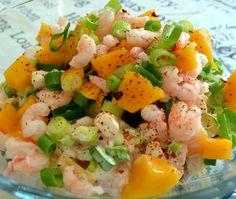 Rejesalat med forårsløg, mango og chili / Shrimp Salad with spring onions, mango and chili