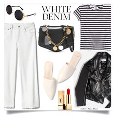 """White denim look"" by yourstylemood ❤ liked on Polyvore featuring Gap, Cheap Monday, Jimmy Choo, Balenciaga, Yves Saint Laurent, Summer, whitejeans, whitedenim, polyvoreeditorial and polyvorecontest"