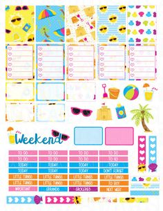 Printable Planner Stickers  Beach Party Summer Fun от LaceAndLogos
