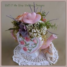 Teapot Wedding floral centerpiece Mad by WillOtheWispWedding, $32.00
