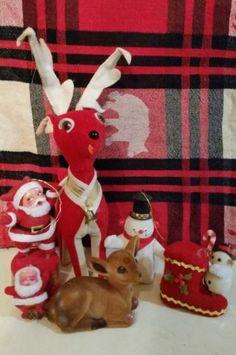 Vintage Felt Christmas Ornaments & Decor Santa Snowman Reindeer