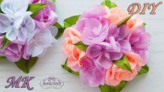Зажимы для волос с букетиком роз 🌹. Канзаши МК/DIY 👐