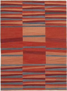 """K0039744 Red New Contemporary Handwoven Kilim Rug - 7' 6"""" x 10' 2"""" (90 in. x 122 in.) 