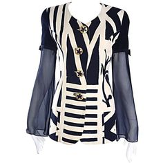 Preowned Vintage Gemma Kahng Black And White 1990s Avant Garde Jacket... ($750) ❤ liked on Polyvore featuring outerwear, jackets, blazers, white, black and white jacket, tailored jacket, short-sleeve blazers, black white blazer and embellished jacket