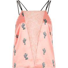 River Island Pink satin cactus lace insert cami pajama top ($32) ❤ liked on Polyvore featuring intimates, sleepwear, pajamas, pijamas, shirts, lingerie & sleepwear, pajamas / loungewear, pink, women and pink cami