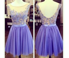Hot Sales Open Back Lavender Lace Tulle Short Prom Dress Homecoming Dress Beadings Party Dresses Ball Gowns