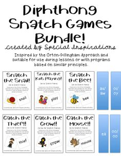 *Also sold/will be sold individually for $2.50* When you download you will receive: Snatch the Snail (an ai game) Snatch the Kids Playing (an ay game)Snatch the Bee (an ee game)Catch the Thief (an ie /e/ game)Catch the Crow! (an ow /o/ game)Catch the Mouse! (an ou game)Future uploads:eaie /i/ooow (plow)auawoioyYour feedback is greatly appreciated!