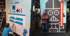 Viking UK have decorated their office with gigantic Post-it note murals of different 'Star Wars' characters.