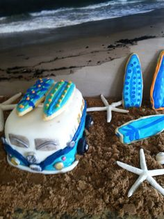 VW Bus baby shower cake....with brown sugar sand and surf board cookies! Such fun making this for my sweet sister in law!
