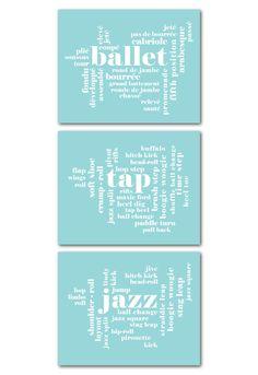 Dance Wall Art Trio Ballet Tap Jazz by SusanNewberryDesigns