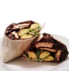 Jamaican Jerk Tofu Burritos with Coconut Black Beans, Plantains, Shredded Snap Peas & Ginger-Cilantro Cream