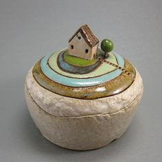 Green Circles...Lidded Box in Stoneware