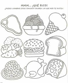 8 sketch drawing of fastfood in line art drawing