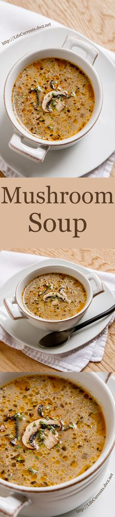This Homemade Vegetarian Mushroom Soup is absolutely divine. Just filled with earthy meaty mushroom goodness all accented by some herby thyme. Chili Recipes, Soup Recipes, Great Recipes, Vegetarian Recipes, Cooking Recipes, Favorite Recipes, Healthy Recipes, Cooking Tools, Kid Cooking