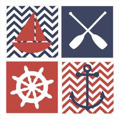 Nautical Theme, Regatta, Childrens Wall Art, Nursery Wall Art, Childrens Canvas- Set of four 10x10 stretched canvas Pottery Barn inspired via Etsy