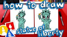 Today we're learning how to draw the Statue of Liberty! We kept this lesson simple and fun, just for young artists. We hope you and your kids will follo. Art For Kids Hub, Art Hub, Chalk Drawings, Easy Drawings, American Symbols, American History, Statue Of Liberty Drawing, Drawing For Kids, Drawing Tips