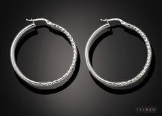 Tesoro Sterling 925 Silver Earring GV347/925E   Large Silver half polished half textured Finishing   RRP - $100.00