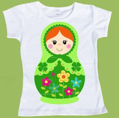 Matryoshka doll for St. Patricks Day Original Creation by ChiTownBoutique    PLEASE TYPE in Hair color choice or RED HAIR will be printed and