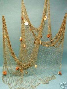 Nautical Fish Net w/ Shells & Floats ~ 5 'x 10'