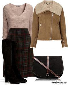 Модная клетка / юбка в клетку модные луки фото