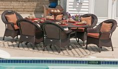 The Lochmoor Collection 6-Person All Weather Wicker/Cast Aluminum Patio Furniture Dining Set . $2225.05