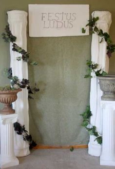 Toga murder mystery party decoration ideas - lots of them