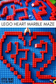 LEGO heart marble maze for kids Valentines Day STEM! Build a marble maze with LEGO bricks. A great STEM activity that encourages problem solving, engineering, designing, and building skills. Maze Games For Kids, Mazes For Kids, Lego For Kids, Kids Diy, Lego Valentines, Valentines Day Activities, Valentines For Kids, Valentine Ideas, Valentine Party