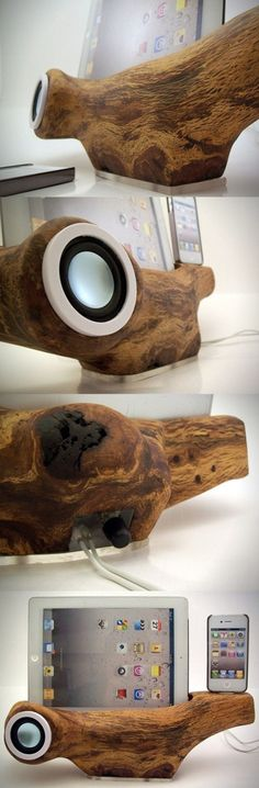 Fancy - Perfect match of iPhone & iPad and Wood Wooden Speakers, Diy Speakers, Woodworking Plans, Woodworking Projects, Wood Crafts, Diy And Crafts, Wood Projects, Projects To Try, Creation Deco