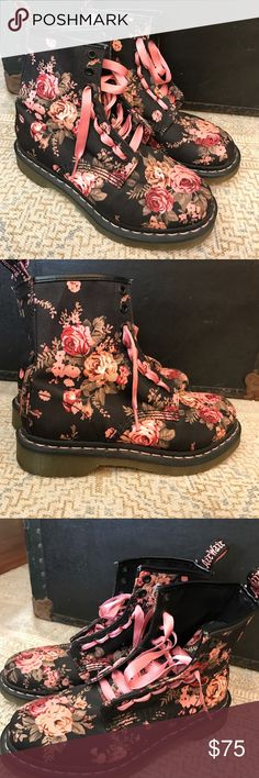 DR. Marten canvas floral boots Size 7 women's. Like new condition. Worn only once (tried on at home) floral print, canvas material. Pink ribbon laces. Dr. Martens Shoes Combat & Moto Boots